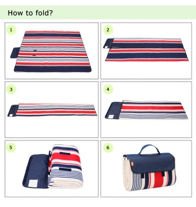 Yodo Picnic Mat Tikar Waterproof Foldable Blanket for Outdoor Family Beach Travel Dark Blue Red Stripe Camping Mattress