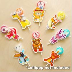Safari Animals Lollipop Cards