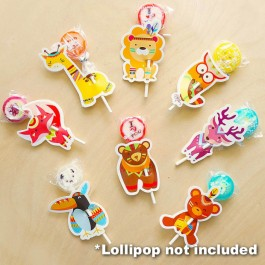 Safari Animals Lollipop Cards