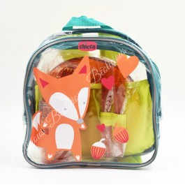 Fox Transparent Backpack with 2 Kids Eating Set