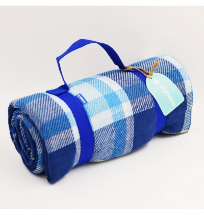 Yonovo Checkers Blue Picnic Mat