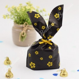 50pcs Black Gold Flowers Goodies Bag, Plastic Beg, Kindergarten Gift Wrapper or Cookies Packaging Party Doorgift for Birthday, Wedding Door Gift Event