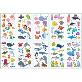 (10pcs) Underwater Fish Temporary Tattoo Cute Removable Fake Tattoos For Birthday Party