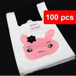 100pcs Cute Rabbit / Bear Plastic Bag for Kenduri, Birthday Party, Food and Event