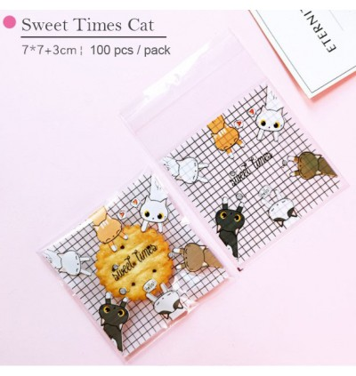 100pcs Sweet Times / Love Cats Kuih Raya Packaging Cookies Wrapper Plastic Bag or Biscuit Packaging Doorgift for Birthday Wedding Event