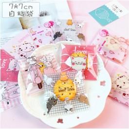 100pcs Cute Cats Series Kuih Raya Packaging Cookies Wrapper Plastic Bag or Biscuit Packaging Doorgift for Birthday Wedding Event
