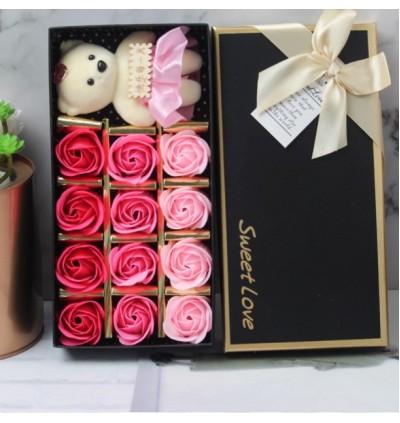 12 Pcs Romantic Rose Soap Flower with Plush Bear Love Gift Box For Valentine, Anniversary, Wedding, Birthday, Mother, Teacher, Christmas, Friend,Family