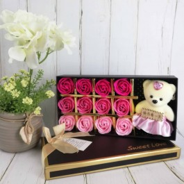 12 Pcs Romantic Rose Soap Flower with Plush Bear Love Gift Box For Valentine, Anniversary, Wedding, Birthday, Mother, Teacher, Christmas, Friend,Family