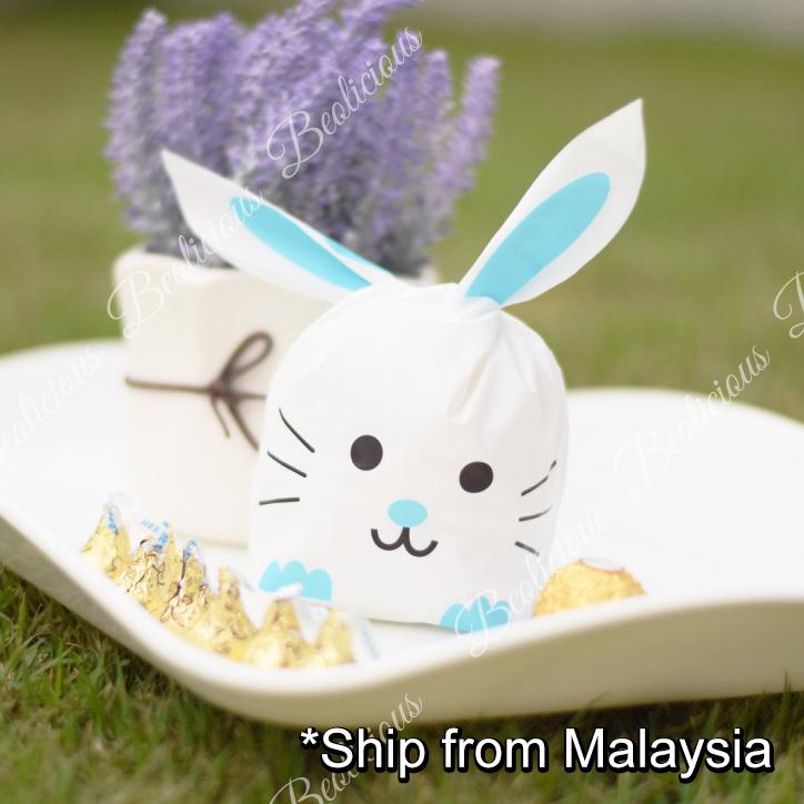 50pcs Rabbit Whiskers Goodies Bag, Plastic Bag, Gift Wrapper or Cookies Packaging Party Doorgift for Birthday, Wedding Door Gift Event
